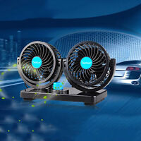 Taotuo DC 12V Car Air Fan 360° Rotation Dual Head Strong Wind Cooling Cooler