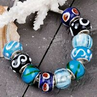 10 Pieces/Bag Lampwork Glass Big Hole European Beads For Charms Bracelet Jewlery