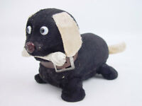 Vintage Wind Up Cloth Covered Tin Dog with Bone Toy