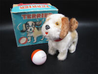 Vintage Wind Up Terrier Dog With Ball In Box Alps Japan