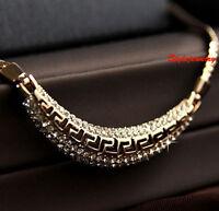 Rose Gold Filled Made with Swarovski Crystal Women Curved Bar Necklace N230