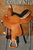"15"" GW CRATE BARREL RACING SADDLE NEW FREE SHIP CUSTOM MADE IN AMERICA TRAIL USA"
