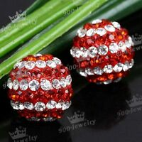 1 PAIR RED WHITE BALL RHINESTONE CRYSTAL EAR STUD EARRINGS FASHION JEWELLERY
