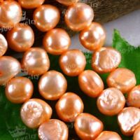 "9-10MM CULTURED FRESHWATER ORANGE PEARL LOOSE BEADS 15""L FOR FASHION JEWELLERY"