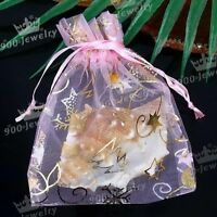 100PCS WHOLESALE PINK SHEER CANDY SWEET ORGANZA VOILE STAR MOON GIFT BAGS POUCH