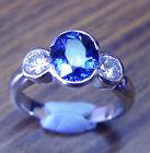 1.57ct!! BLUE CEYLON SAPPHIRE+0.31ct DIAMONDS+18ct WHITE GOLD HANDMADE RING+CERT