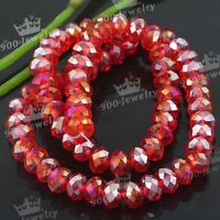 6x8mm Red AB Crystal Faceted Glass Rondelle Loose Beads For Jewellery Making