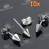 5Pair Silver-Tone Cool Stainless Steel Spike Beads Men's Earring Ear Stud Gift