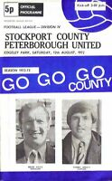 Football Programme>STOCKPORT COUNTY v PETERBOROUGH UNITED Aug 1972