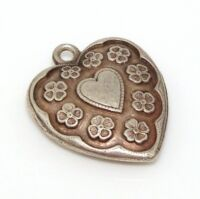 Vtg Etched Heart Flower Scalloped Puffy Heart Charm Sterling Silver/925 LDA88