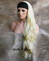 Light Blonde 3/4 Fall Hairpiece Wavy Extra Long Half  Wig Full Bodied Hair Piece