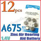 12x A675 PR44 7003ZD 1.4V Zinc Air Hearing Aid Battery
