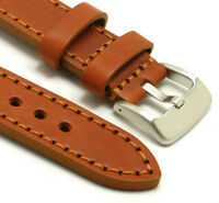 24mm Brown/Brown Genuine Cow Leather Hand-Stitched Men's Watch Band