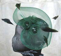 green feather headband fascinator millinery wedding ascot hat hair piece
