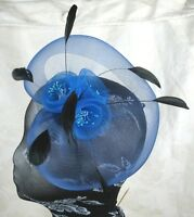 blue feather headband fascinator millinery wedding ascot hat hair piece
