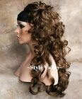 Golden Brown 3/4 Fall Hairpiece Long Curly Layered Half Wig Hair Piece STUNNING!
