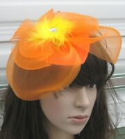 orange feather netting hair clips fascinator millinery wedding hat race ascot