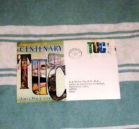 QE II PRE-DECIMAL TUC CENTENARY 4d FDC 29 MAY 1968 LONDON W2 + FDI BOX SLOGAN