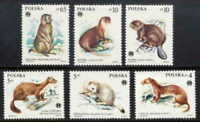POLAND 1984 PROTECTED ANIMALS MINT COMPLETE SET OF 6 STAMPS!