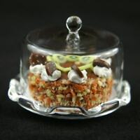 Glass Cake Stand (K) & Kiwi Cake Dolls House Miniatures