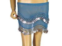 Blue Wrap Hip Scarf Belly Dance Costume Coin Belt