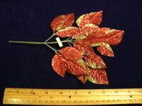 Vintage Millinery Flower Velvet Leaf LG Burgandy Green