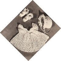 Vintage Crochet PATTERN to make Baby Set Sacque Dress Bonnet Booties CrochetLace