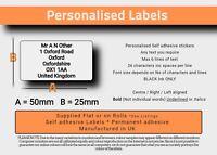 Pre Printed Return Address Self Adhesive / Sticky Labels x 100