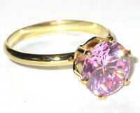 9mm Round Pink Ice CZ SOLITAIRE RING 14K Gold Plated Cubic Zirconia