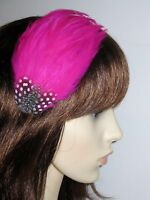 GWEN Fuchsia Hot Pink FEATHER HAIR CLIP Fascinator Wedding Bridesmaids Feathers