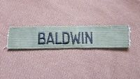 "BLACK & KHAKI MILITARY NAME TAG  "" BALDWIN """