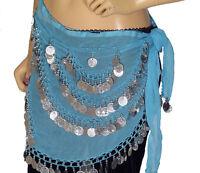 Blue Wrap Hip Scarf Belly Dance Costume Belt Coin