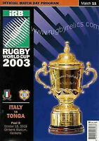 ITALY v TONGA RUGBY WORLD CUP 2003 PROGRAMME