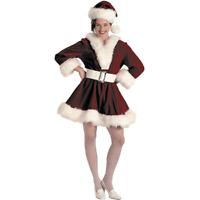 Velvet Perky Pixie Christmas Costume - Sexy Santa Claus (12-14) Halco 7054 - 12