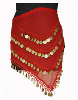 Belly Belle Dancing Costume Opera Hip Scarf Coin Skirt Wrap Belt Red Golden 4L