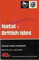 BRITISH LIONS 1974 v NATAL RUGBY PROGRAMME