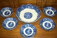 Antique Flow Blue Berry Bowl Set - Bonn Malta German Franz Ant Mehlem