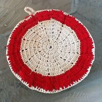 VINTAGE RED & OFF WHITE HAND CROCHET POTHOLDER