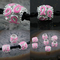 Enamel Pink Ribbon Cancer AWARENESS Column Cylinder Big Hole Charm Beads Finding
