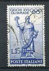 ITALIE 1960, timbre 814, SPORT, JEUX OLYMPIQUES ROME, STATUE ROMAIN, oblitéré
