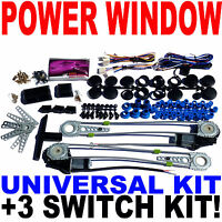 Universal Premium Electric Power Window Kit & 3 Switch Kit Fast USA Shipping New