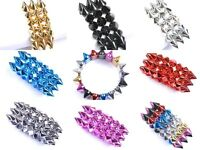 New Fashion Cool Rock Punk Stud Spike Rivet Elastic Stretch Gold Bangle Bracelet