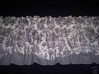 BLACK ON WHITE~WAVERLY Rustic Toile/CK Valance CURTAINS