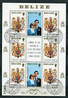 BELIZE, FEUILLET timbres n° 524, LADY DIANA et PRINCE CHARLES, oblitéré