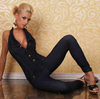 WOMEN'S HIGH QUALITY SEXY REDIAL JEANS LOOK JUMPSUIT CATSUIT Size 8-12