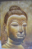 """LARGE BUDDHA HEAD ART OIL PAINTING 24X36"""" STRETCHED"""
