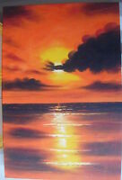 """COLOURFUL SUNSET ART OIL PAINTING 24X36"""" STRETCHED"""