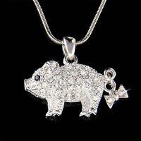 w Swarovski crystal Pig Piggy Piglet Lover Charm Pendant Chain Necklace New Cute