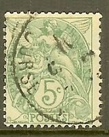 "FRANCE TIMBRE STAMP N°111 ""TYPE BLANC, 5 C, VERT"" OBLITERE TB"