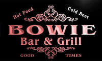 u04931-r BOWIE Family Name Bar & Grill Cold Beer Neon Light Sign